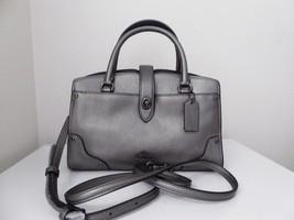 New Coach Grain Leather Mercer 24 Gunmetal Satchel Handbag 37779 - ₹13,962.84 INR