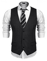 COOFANDY Men's Business Suit Vest,Slim Fit Skinny Wedding Waistcoat, Dar... - $37.06