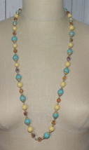 Vendome Faux Turquoise Glass Crystal Bead Long Vintage Necklace - $74.24