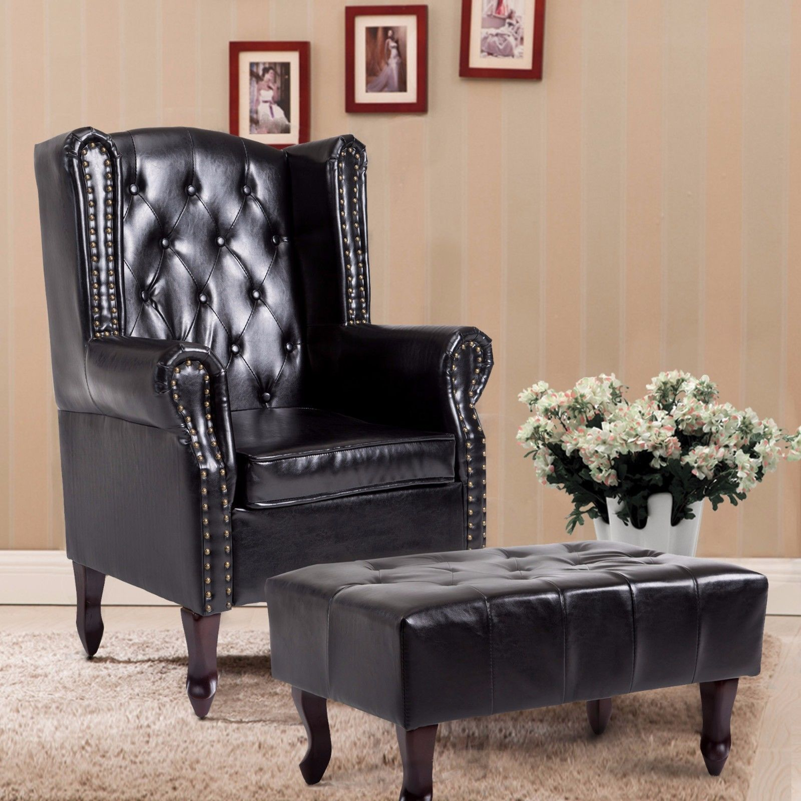 Cloud Mountain Tufted Accent Chair and Ottoman Black Leather Club Classic Couch