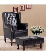Cloud Mountain Tufted Accent Chair and Ottoman Black Leather Club Classi... - $229.99