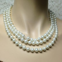 Vintage, Multi-layer, 3-Strands White Glass Pearls, 18in Choker-Necklace - $11.35