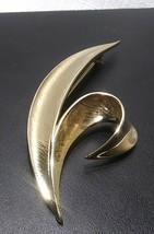 1960's Trifari Gold Brushed split leaf brooch - $30.60