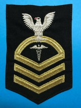 U.S. NAVY, USN, HOSPITAL CORPSMAN, E7 MALE RATING BADGE, SEAWORTHY GOLD ... - $19.80