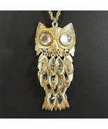 Vintage OWL Necklace Clear Moveable Feathers Mirror Cabochon Eyes Gold T... - $9.50