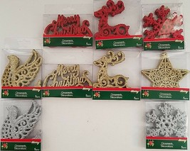 Christmas Ornaments Glitter Classic Theme Icons 5 Ct/Pk  Select: Theme & Color - $2.99