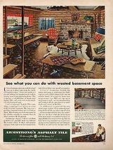 Log Cabin Rustic Interior Armstrong 1950 Ad  - $14.99