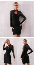 Long Sleeve Sexy Black Sequin Lace Club Party Dress image 5