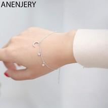 Anenjery Simple Fashion Micro CZ Moon Star Tassel 925 Sterling Silver Bracelet F - $13.49
