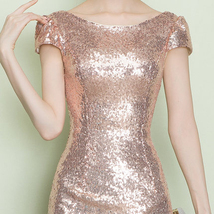 CHAMPAGNE GOLD Short Sleeve Long Sequin Dress Bridesmaid Long Maxi Sequin Dress image 14