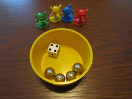 Mouse Trap Board Game Pieces 4 Mice 4 Steel Ball Marbles Dice Pool Direction - $16.83
