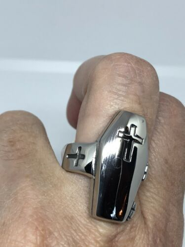 Vintage Large Stainless Steel Cross Crest Coffin Size 8.25 Men's Ring