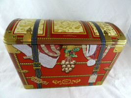 Santa's Trunk Empty Christmas Gift Tin 11 Inch Silver Crane UK Red & Gold - $12.66