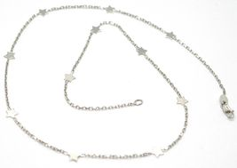 18K WHITE GOLD NECKLACE WITH FLAT STARS, SQUARE CABLE ROLO CHAIN, 16.5 INCHES image 3