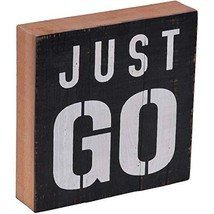 """NIKKY HOME 8"""" Inspirational Wooden Box Sign with Quote Just Go, Black - $9.26"""