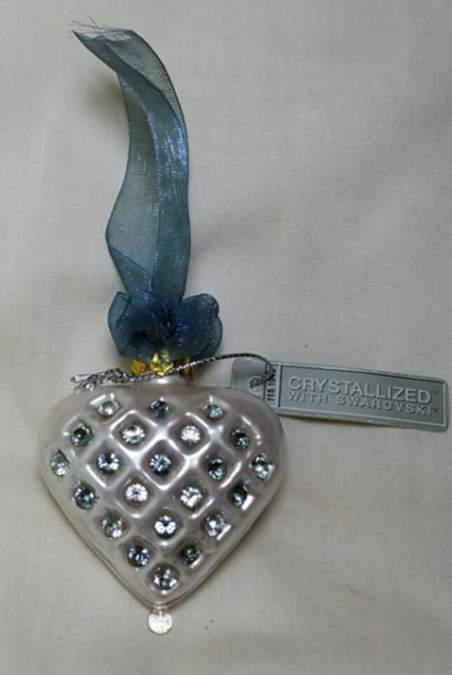 Hand Blown Heart Ornament Crystallized with Swarovski