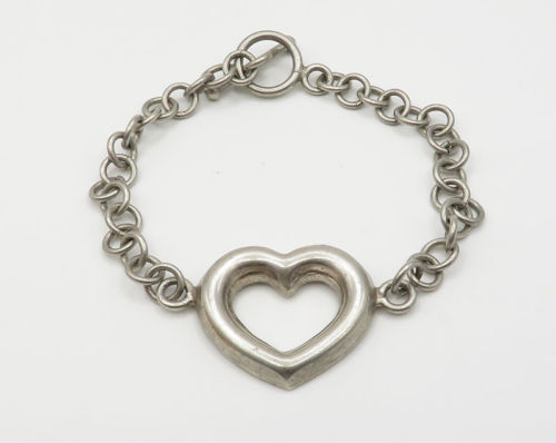 Primary image for MEXICO 925 Silver - Vintage Love Heart Detail Toggle Closure Bracelet - B2167