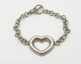 MEXICO 925 Silver - Vintage Love Heart Detail Toggle Closure Bracelet - ... - $36.59