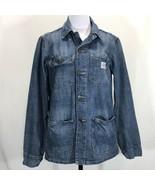 Lucky Brand Denim Chore Jacket Womans Medium Button Front Blue Jean Coat - $58.00