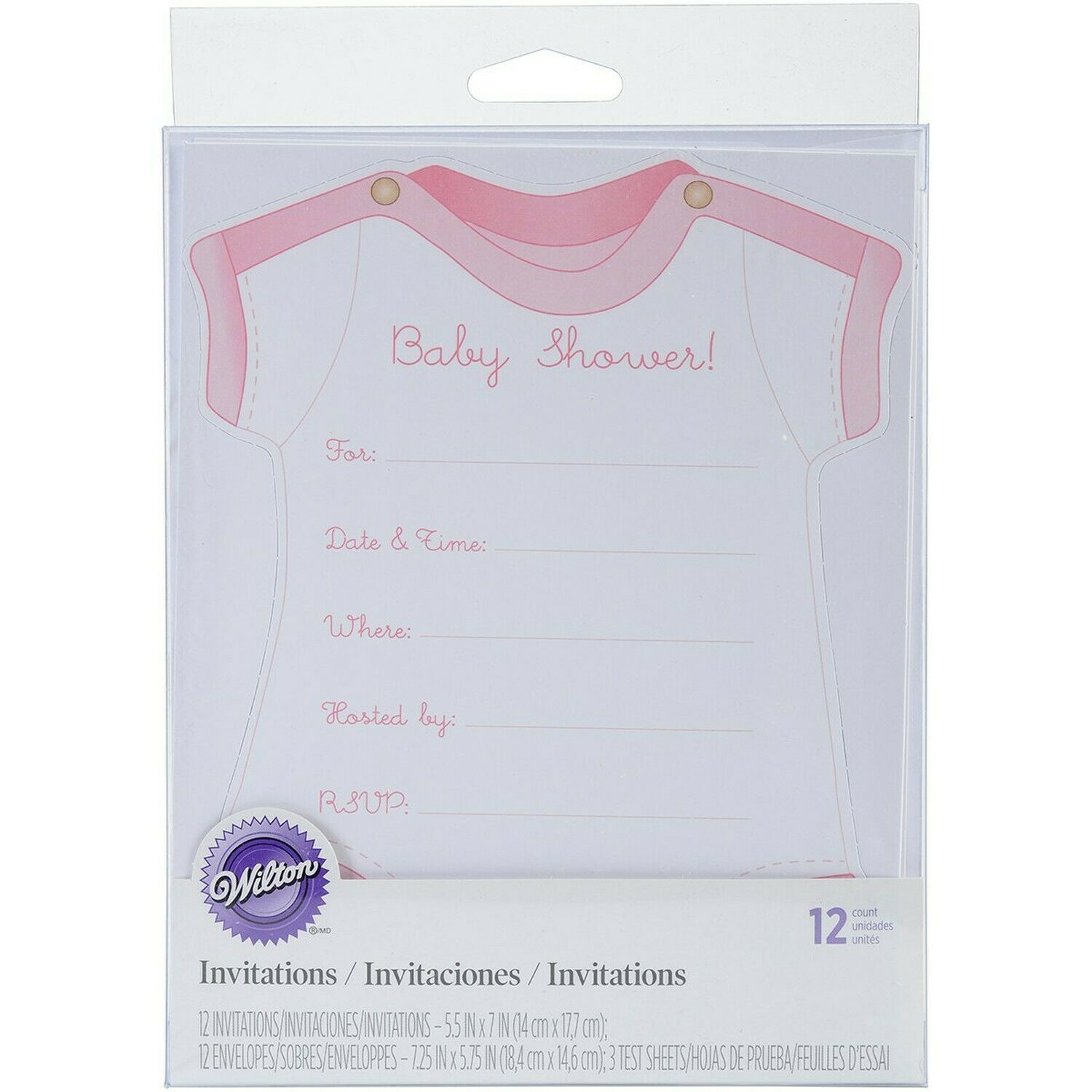 Wilton Pink Girl Fill-In Baby Shower Invitations, 12pc - $7.34