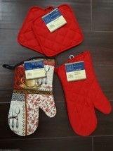 New Home Collection Pot Holder Oven Mitt 4 Piece Gift Set Red Coffee Tim... - $14.79