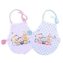 PANDA SUPERSTORE 2 Pieces Cotton Baby Belly Band Pink Blue Bear Baby Bibs Soft C