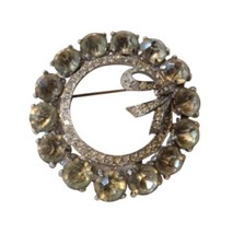 Vintage Rhinestone Wreath Bow Large Bling Brooch Pin Costume - $27.08