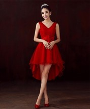 White Red Champagne ladies wedding clothes Sexy v-neck Special Occasion ... - $43.86