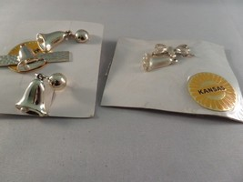 Vintage Gold Tone Bell Brooch, Screw Earrings and Clip V5 - $6.92