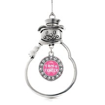 Inspired Silver I am a Fighter Breast Cancer Awareness Circle Snowman Ho... - $14.69
