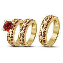 Unisex Engagement Trio Ring Set 14k Gold Finish 925 Silver Round Cut Red Garnet - $153.99