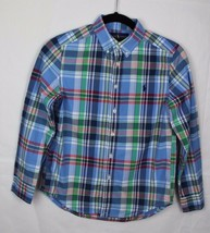 Ralph Lauren youth kids shirt long sleeve plaid cotton multicolor size M... - $17.99