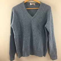 Vtg Clansman Sweater L Large Mens Blue Bermuda 100% Lambswool Cable Knit... - $12.49