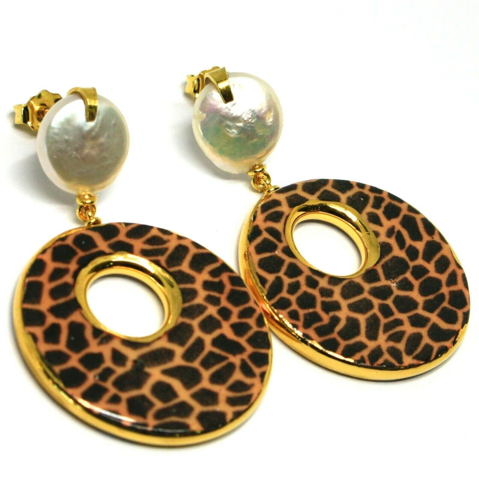 EARRINGS SILVER 925 HANGING PEARLS BAROQUE STYLE FLAT, OVALS EFFECT LEOPARD