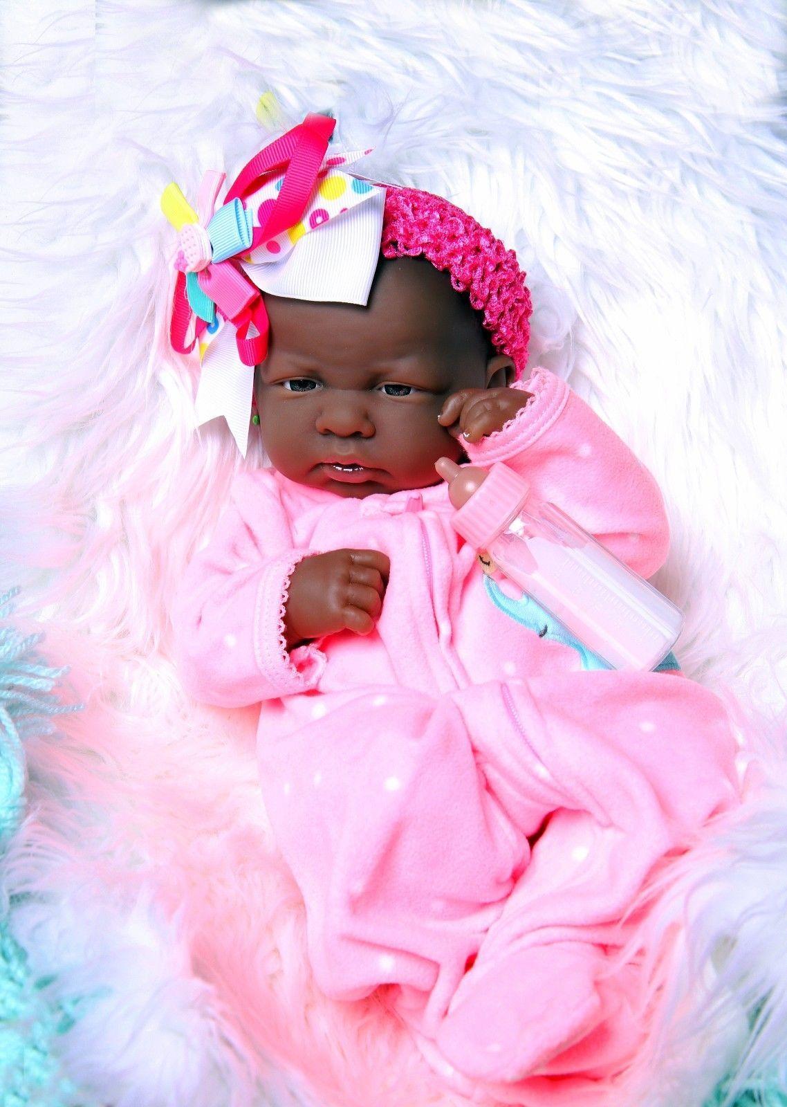 "SUPER DEAL BABY GIRL AFRICAN AMERICAN DOLL REBORN BERENGUER 14/"" VINYL SILICONE"