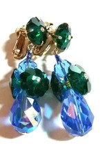 VINTAGE VENDOME SIGNED BLUE GREEN CRYSTAL CLIP ON CHANDELIER EARRINGS - $45.00