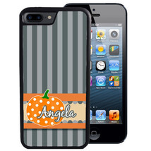 Fall Case For I Phone X 8 7 6 5 Se 5C Plus Rubber Pumpkin Gray Stripes Halloween - $13.98