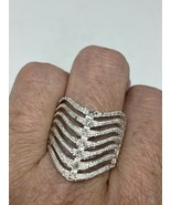 Vintage White Sapphire Ring Cocktail 925 Sterling Silver Size 11 - $106.92
