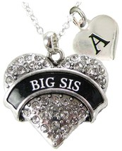 Custom Big Sis Heart Silver Necklace Jewelry Sorority Sister Rush Gift Initial - $14.24