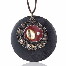Coostuff Beautiful Brown Handmade Wood Vintage Pendant Jewelry Necklace ... - $9.17