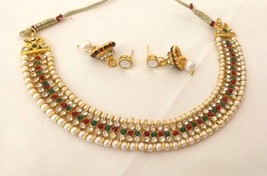 Indian Gold Plated Red Green Rhinestone Pearl Fashion Wedding Jewellery  India - $13.50