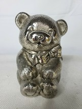 Silver Finish MetalTeddy Bear with Bow Coin Piggy Bank - $39.95