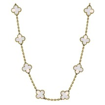 "Natural Mother of Pearl 10-Motif 18k Yalow Gold  26"" Necklace with silve... - $275.28"