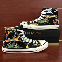 Jungle Forest Leopard Hand Painted Shoes Black Converse All Star Chuck Sneakers - $155.00
