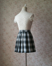 Black and White Plaid Skirt Mini Pleated Plaid Skirt Outfit A-line High Waisted image 4