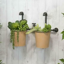 Double Metal Planter with Decorative Faucet Wall Mounted Garden Pots - $89.95
