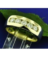 14k Yellow Gold Finish 925 Sterling Silver Mens Anniversary Diamond Band... - $68.05