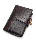 TAUREN OIL WAX Cowhide Genuine Leather Men Wallets Fashion Purse With Ca... - $28.26