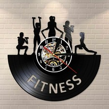 Weightlifting Fitness Room Decor Women GYM Vinyl Record Clock Effect Wal... - $34.57+