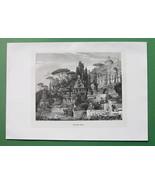 ROMAN VILLA Restored Exterior View Italy - Atique Print Engraving - $12.15